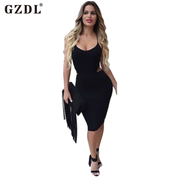 Gzdl yaz stil kadın seksi dress halter backless bodycon bandaj dress süt ipek celeb parti elbise vestido de festa cl2430
