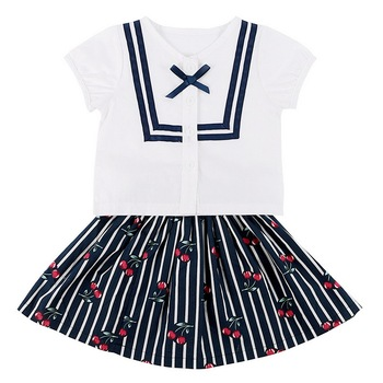 Summer New LovelyChildren Suit Baby Girl's Cotton Naval Style Short Sleeve Tops+ Cherry Printed Mini Skirt Kid Clothes 2Pcs/Set