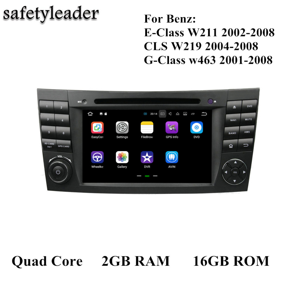 "2 GB RAM Quad Core 2 din 7 ""Android 7.1 Car DVD Player Mercedes Benz E-Class W211 CLS W219 G-Class W463 Radyo GPS Bluetooth"