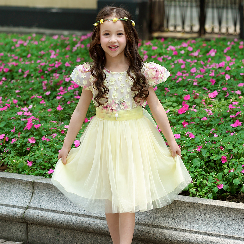 2-13 Years girls party princess flower dress Summer style Puff short-sleeved floral Tutu dress kids clothes Vestido infantil